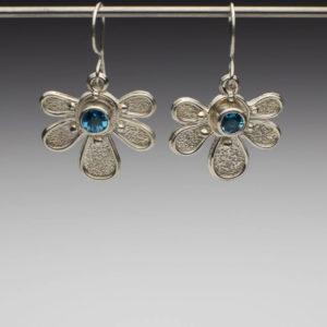 Brilliant Blue Topaz Half Daisy Earrings by