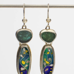 Teal and Blue Tourmaline Cloisonne Earrings by