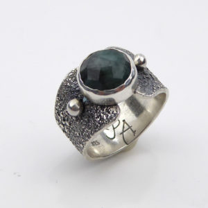 Sterling Silver and Emerald Ring by