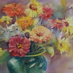 Zinnias and Sunflowers in a Green Glass Vase by