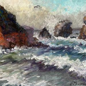 Crashing Waves at Rockaway Beach by