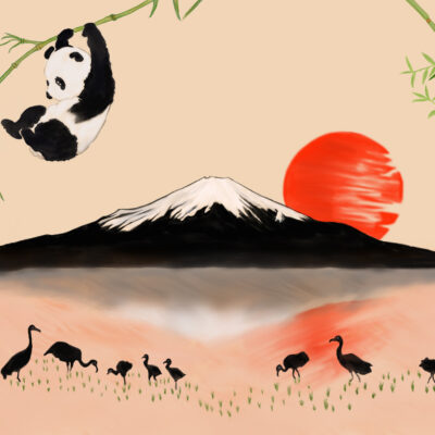 Asian Fantasy: Panda & Mount Fuji by