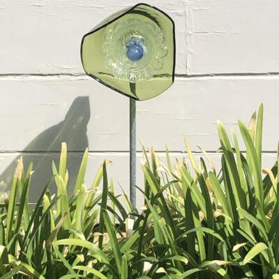 Green blue glass flower by
