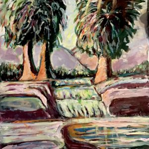 Three Palms in a Fountain by