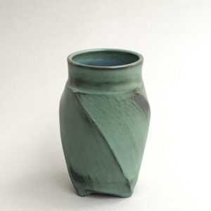 Green Twisted Vase by