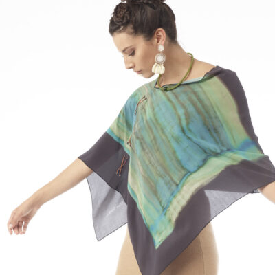 Silk Poncho with Leather Lacing by Ellen Brook